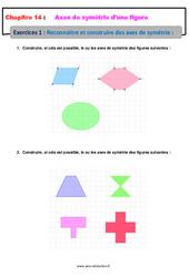 Reconnaitre et construire un axe de symétrie – 6ème – Révisions – Exercices avec correction sur les axes de symétrie d'une figure