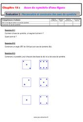 Reconnaitre et construire un axe de symétrie – 6ème – Evaluation avec la correction sur les axes de symétrie d'une figure