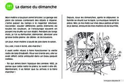 La danse du dimanche – CE1 – Lecture compréhension – Histoire illustrée – Niveau 2