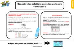 Leçon, trace écrite sur connaître les relations entre les unités de contenance au Ce2