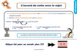 Leçon, trace écrite sur l'accord du verbe avec le sujet – Ce1