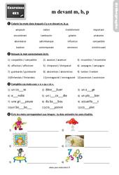 Exercices, révisions sur m devant m, b, p au Ce2 avec les corrections