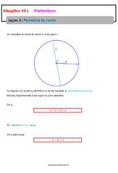 Périmètre du cercle - 6ème - Cours