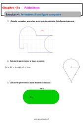 Périmètre des figures composées – 6ème – Révisions – Exercices avec correction