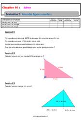 Aire des figures usuelles – 6ème – Evaluation avec la correction