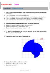 Aire du disque – 6ème – Révisions – Exercices avec correction