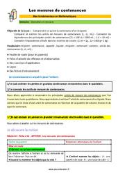 Les mesures de contenances – CM1 – CM2 – 6ème – SEGPA – EREA – Décrochage scolaire