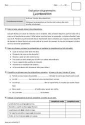 Préposition – Cm2 – Bilan à imprimer