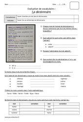 Dictionnaire - Cm2 - Bilan à imprimer
