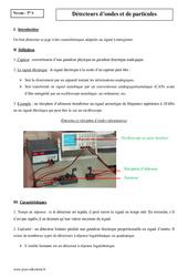 Détecteurs d'ondes et de particules - Terminale - Cours
