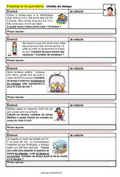 Unités de temps - CM1 - CM2 - 6ème - SEGPA - EREA - Problèmes et vie quotidienne