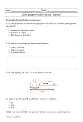 Ondes progressives sinusoïdales - Terminale - Exercices à imprimer