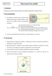 Mouvement d'un satellite – Terminale – Cours