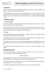 Référentiel galiléen, première loi de Newton – Terminale – Cours