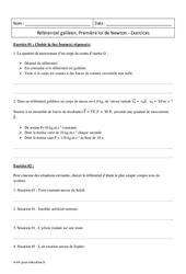 Première loi de Newton – Référentiel galiléen – Terminale – Exercices