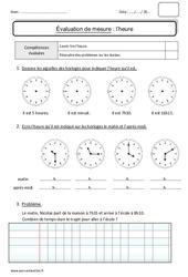 Heures – Durées – Ce1 – Bilan
