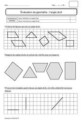 Angle droit – Ce1 – Bilan à imprimer