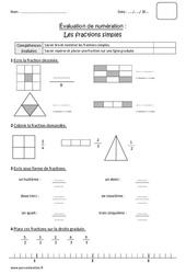 Fractions simples - Cm1 - Bilan à imprimer