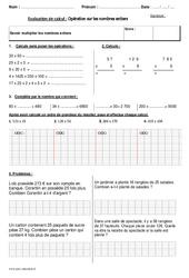 Multiplier les nombres entiers - Cm2 - Bilan à imprimer