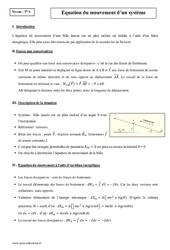 Equation du mouvement d'un système dissipatif – Terminale – Cours