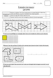 Aires – Surface – Cm1 – Bilan à imprimer