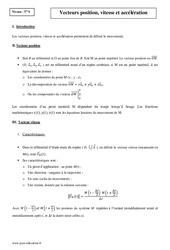 Vecteurs position – Vitesse et accélération – Terminale – Cours