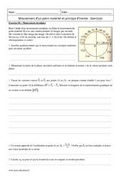 Principe d'inertie – Mouvement d'un point matériel – Terminale – Exercices
