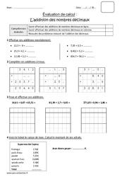 Addition des nombres décimaux - Cm1 - Bilan