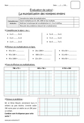 Nombres entiers – Multiplication – Cm1 – Bilan à imprimer