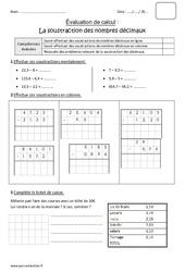 Soustraction des nombres décimaux – Cm1 – Bilan avec le corrigé