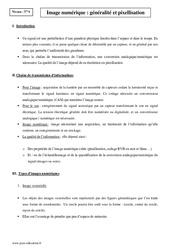 Image numérique - Terminale - Cours - Généralité et pixellisation