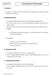 Transmission de l'information – Terminale – Cours