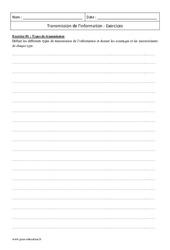 Transmission de l'information – Terminale – Exercices à imprimer