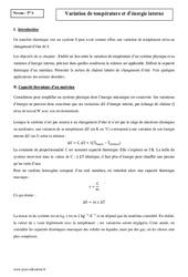 Variation de température et d'énergie interne - Terminale - Cours