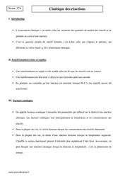 Cinétique des réactions - Terminale - Cours