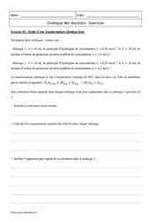 Cinétique des réactions - Terminale - Exercices à imprimer
