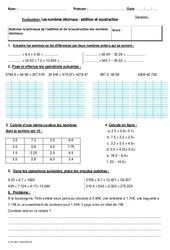 Addition et soustraction des nombres décimaux - Cm2 - Bilan