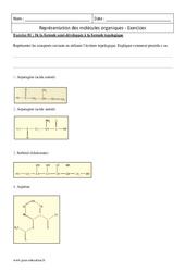 Molécules organiques – Terminale – Exercices sur la représentation