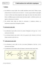 Conformations des molécules organiques – Terminale – Cours