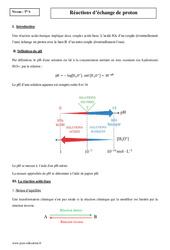 Réactions d'échange de proton – Terminale – Cours