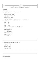 Réactions d'échange de proton – Terminale – Exercices à imprimer
