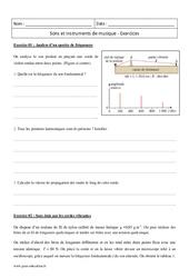 Instruments de musique - Sons - Terminale - Exercices