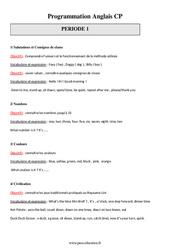 Programmation Annuelle – CP – Anglais – Progressions – Toutes les périodes