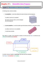 Reconnaître et décrire un polyèdre – 6ème – Géométrie dans l'espace – Cours