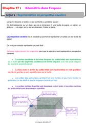 Représentation en perspective cavalière – 6ème – Géométrie dans l'espace – Cours