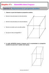 Représentation en perspective cavalière – 6ème – Géométrie dans l'espace – Révisions – Exercices avec correction