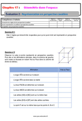 Représentation en perspective cavalière - 6ème - Géométrie dans l'espace - Evaluation avec la correction