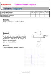 Les patrons – 6ème – Géométrie dans l'espace – Evaluation avec la correction