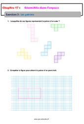 Les patrons – 6ème – Géométrie dans l'espace – Révisions – Exercices avec correction