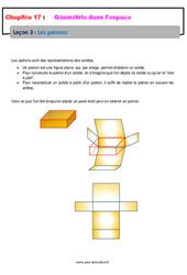 Les patrons – 6ème – Géométrie dans l'espace – Cours